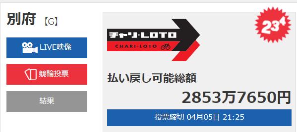 チャリロト2853万円キャリオーバー