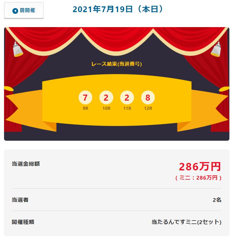 当たるんです7月19日は143万円を二人の方が!抽選結果