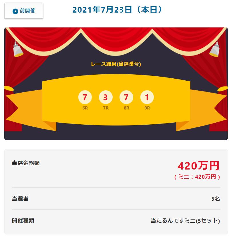 当たるんです7月23日は当選金総額420万円で5名が!抽選結果