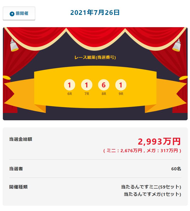 当たるんです7月26日の当選金総額は2993万円!抽選結果