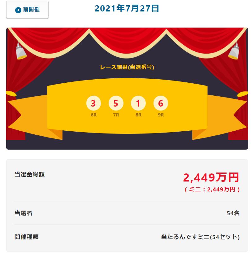 当たるんです7月28日は当選者は54名当せん金総額2449万円!抽選結果