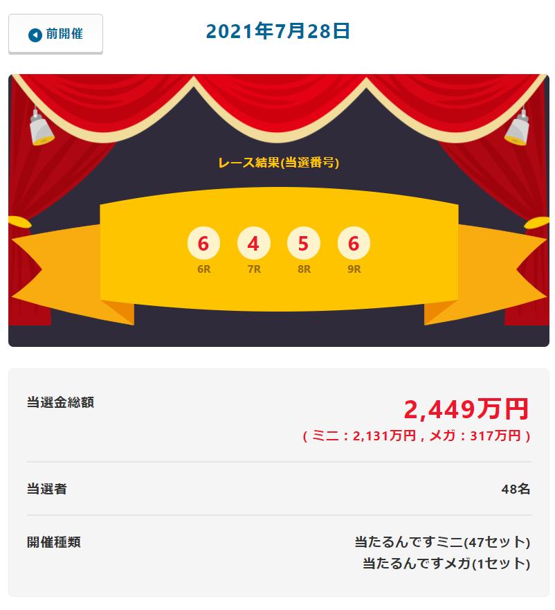 当たるんです7月28日はメガ317万円も出た 総額2449万円!抽選結果