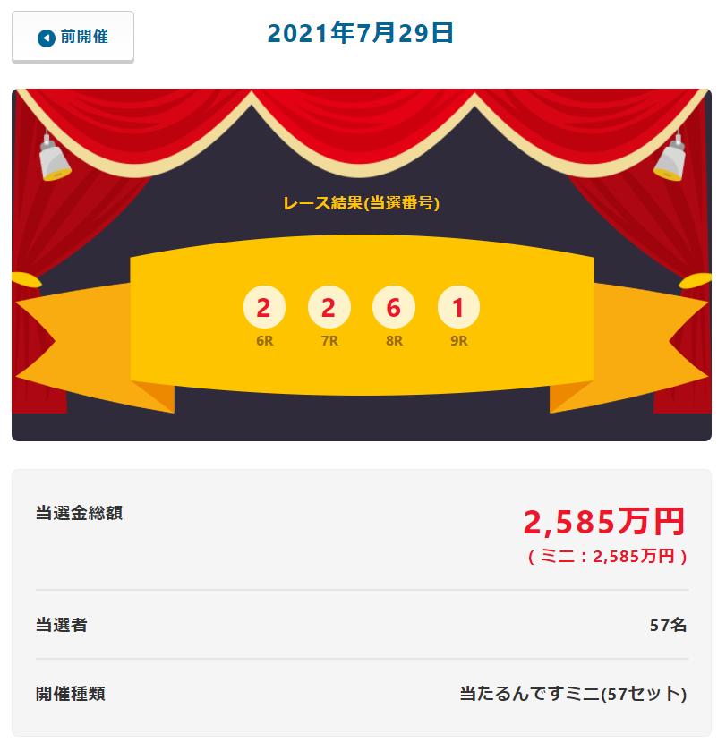 当たるんです7月29日は当選金総額2585万円当選者は57名!抽選結果