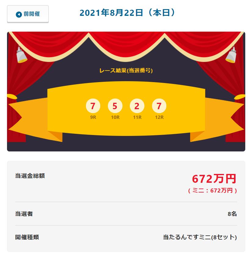 当たるんです8月22日は8人が84万円当選!抽選結果
