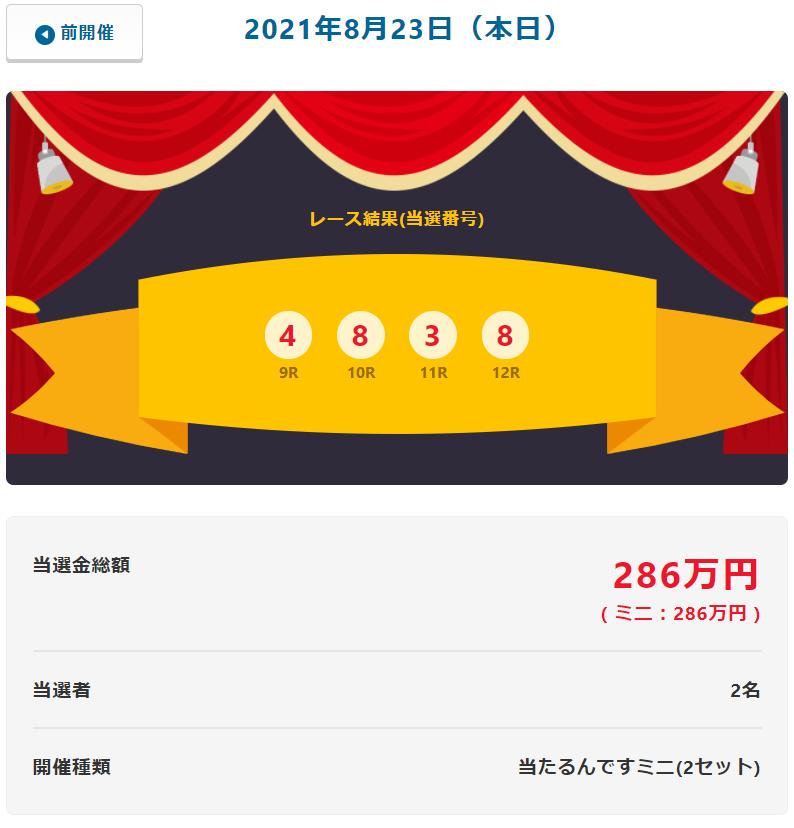 当たるんです8月23日は2名が143万円をゲット!抽選結果