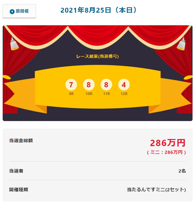 当たるんです8月25日は2名が143万円!抽選結果
