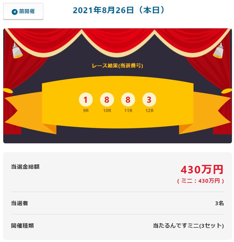 当たるんです8月26日は143万円を3人の方が!抽選結果