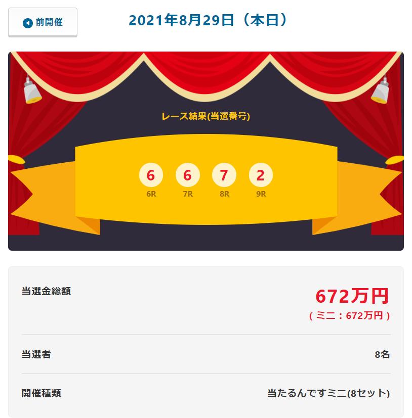 当たるんです8月29日は8名が84万円を!抽選結果