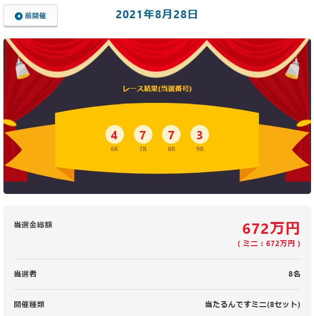 当たるんです8月28日は当せん金総額672万円!抽選結果