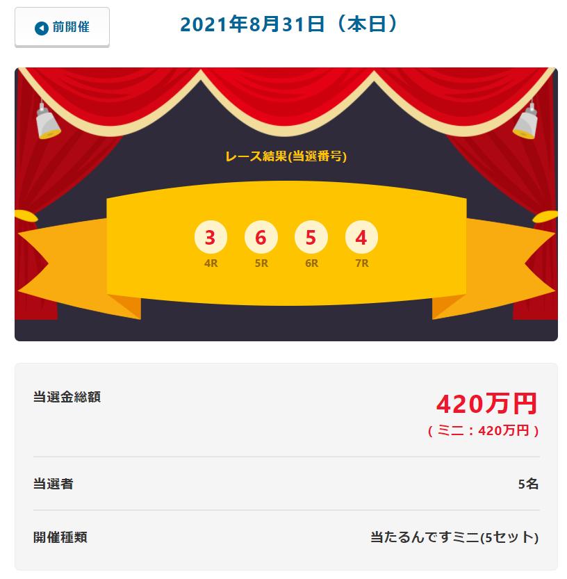 当たるんです8月31日は5名が84万円をゲット!抽選結果