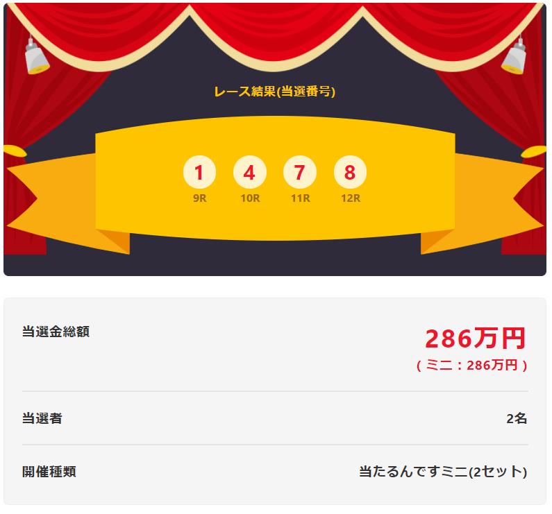当たるんです9月10日は二人の方が143万円を!抽選結果