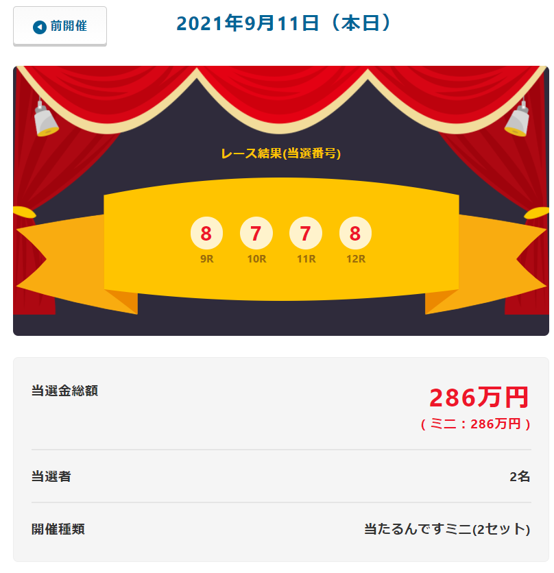 当たるんです9月11日はまたまた2名が143万円を!抽選結果