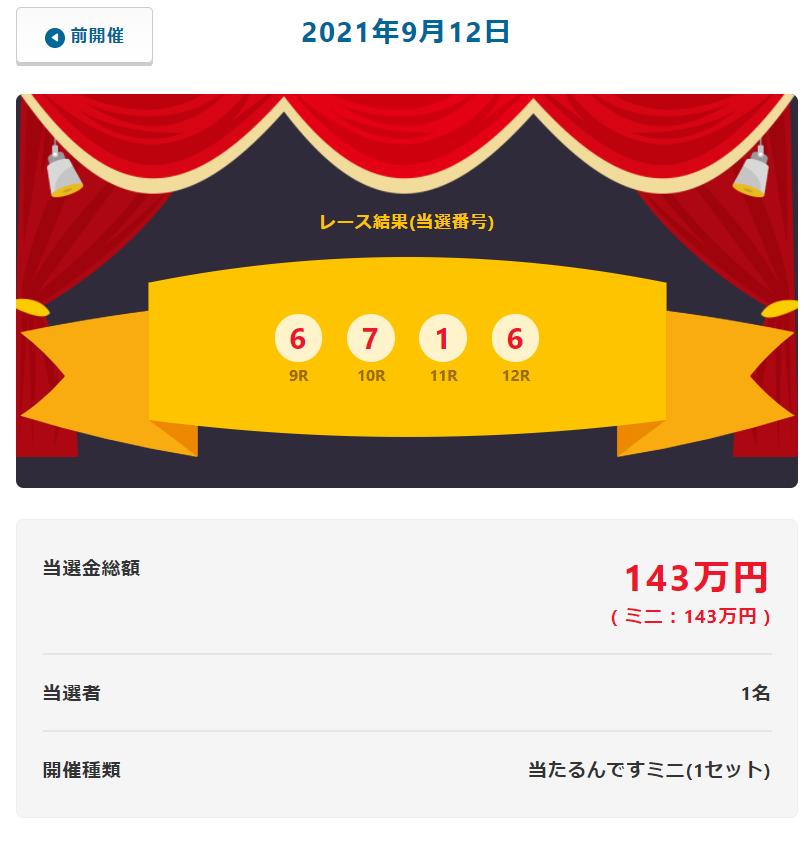 当たるんです9月12日は1名が143万円をゲット!抽選結果