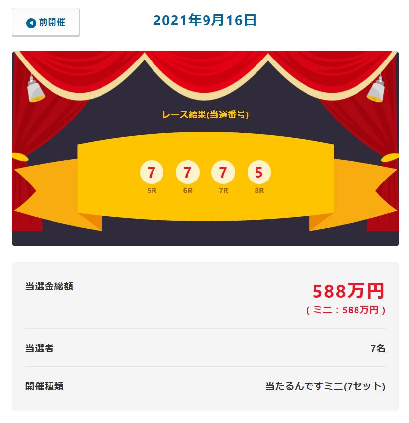 当たるんです9月16日は7名が84万円を!抽選結果