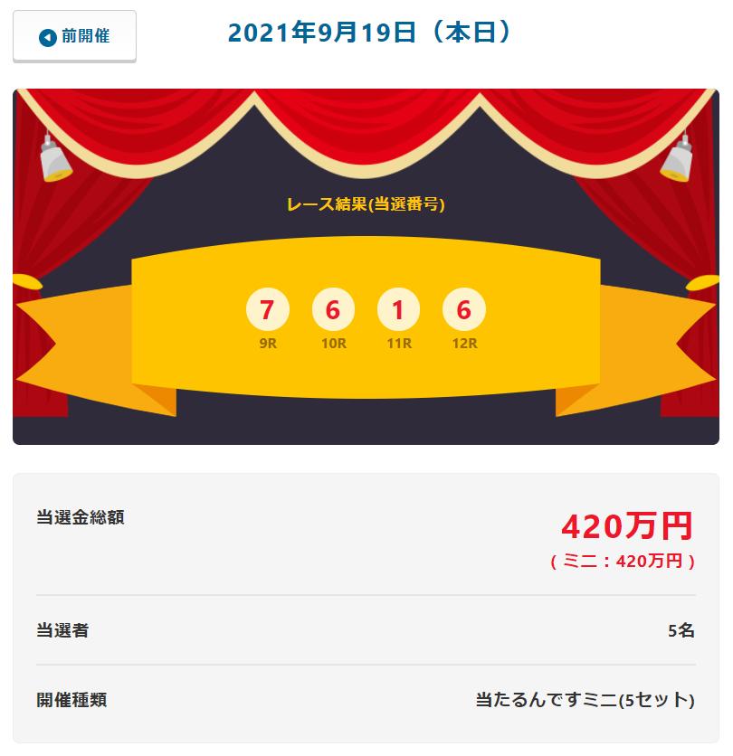 当たるんです9月19日は5名が84万円をゲット!抽選結果