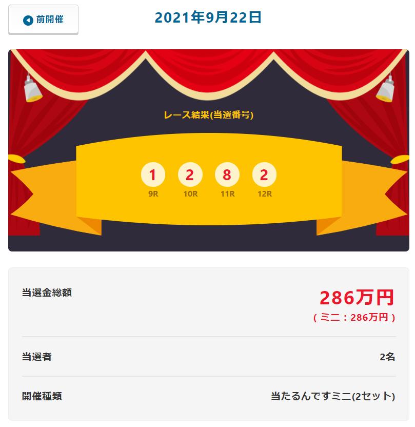 当たるんです9月22日は2名が143万円をゲット!抽選結果