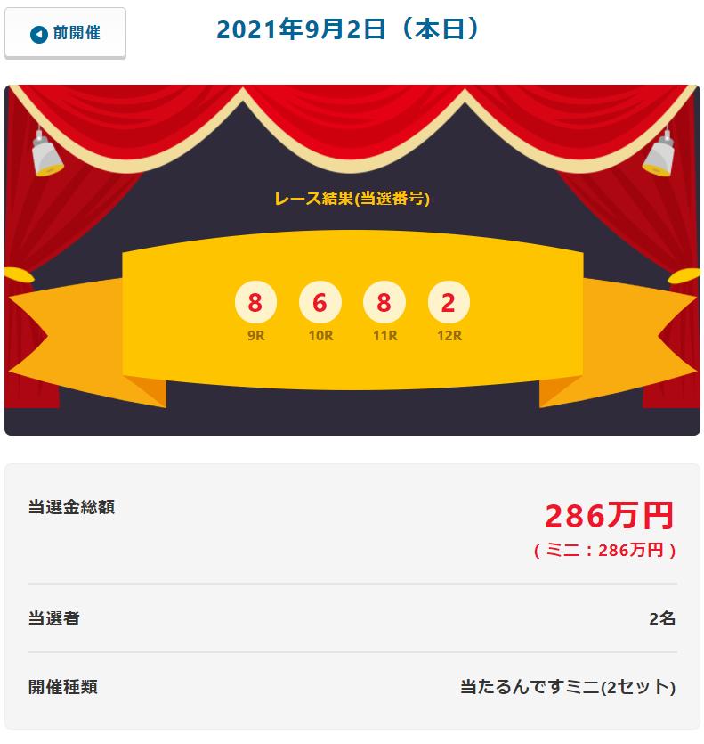 当たるんです9月2日は二人が143万円をゲット!抽選結果