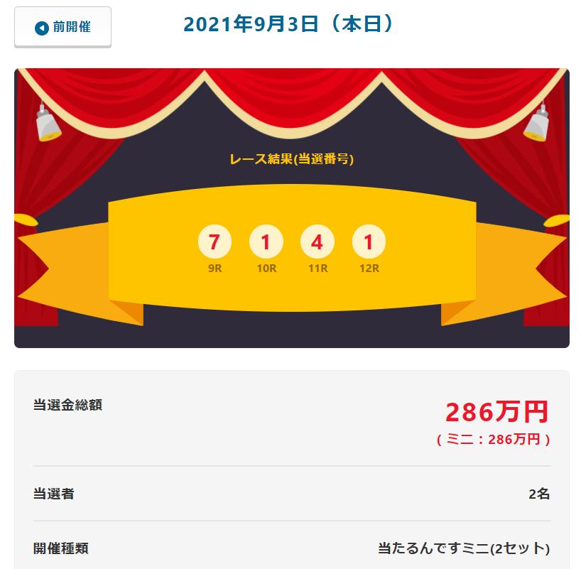 当たるんです9月3日は143万円をゲットしたのは2名!抽選結果