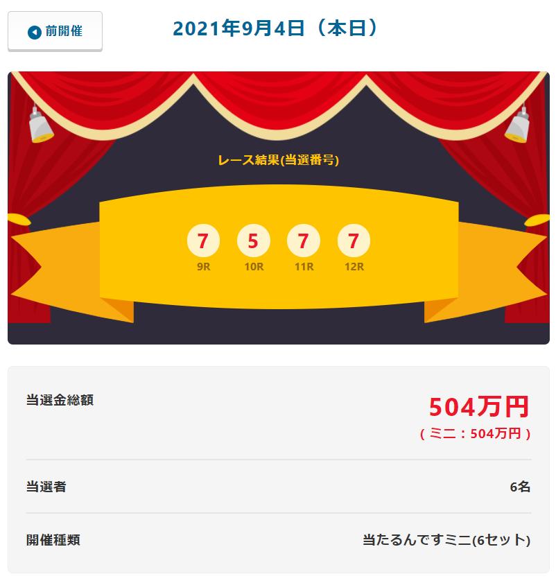当たるんです9月4日は6名が84万円を!抽選結果