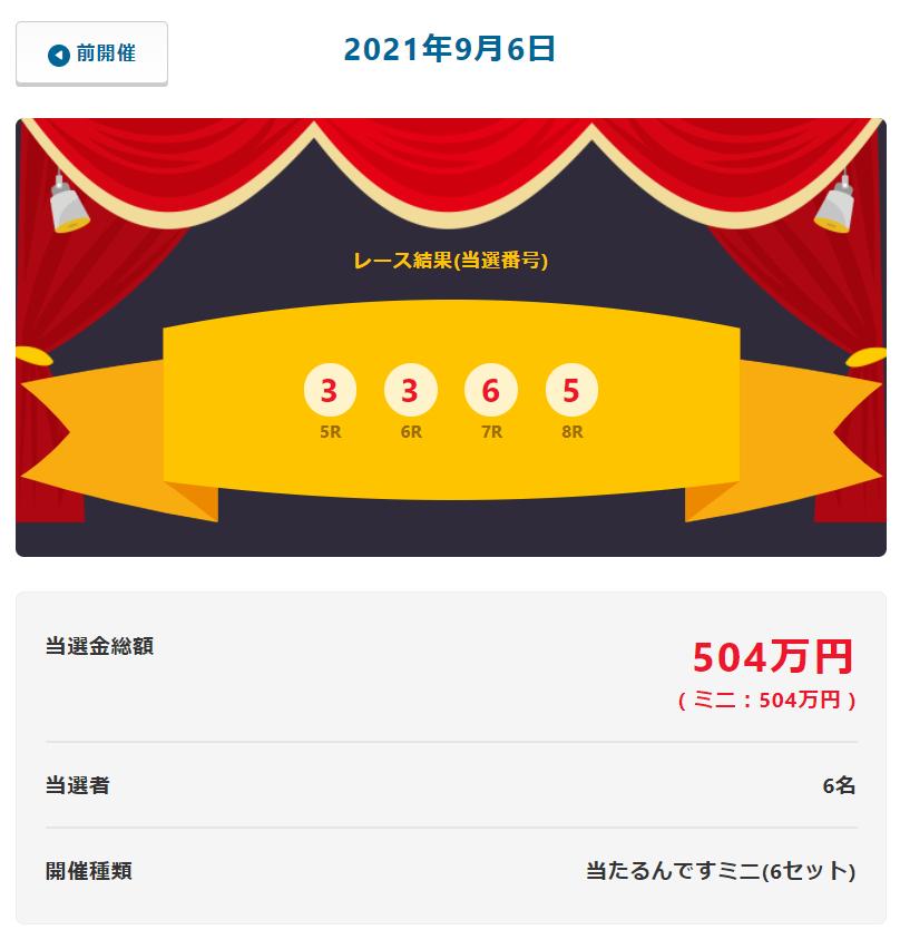 当たるんです9月6日は84万円を6人が!抽選結果