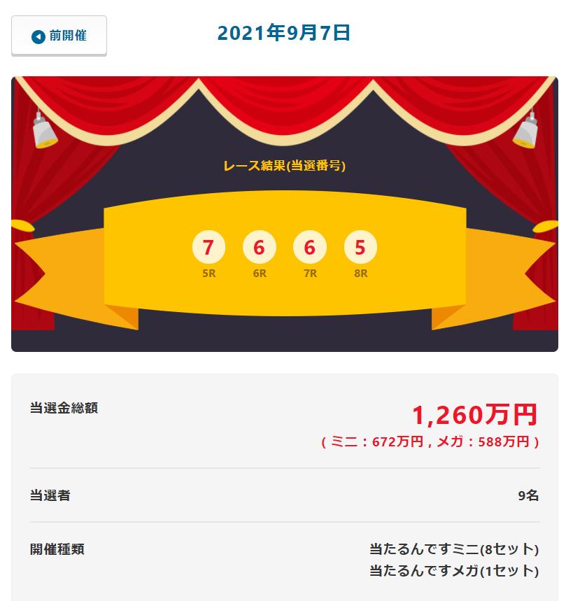 やっぱ588万円の「メガ」も出た当たるんです9月7日抽選結果