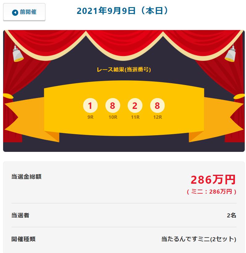 当たるんです9月9日は2名が143万円をゲット!抽選結果